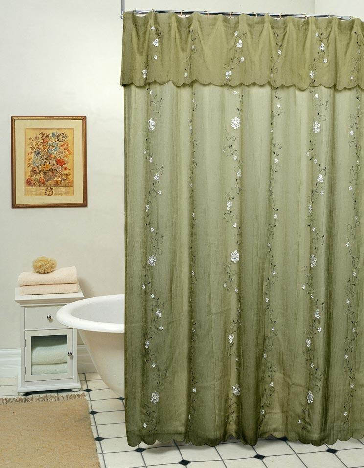 Daisy Fabric Shower Curtain Sage Green New Creative Linens Holiday Free S H Ebay