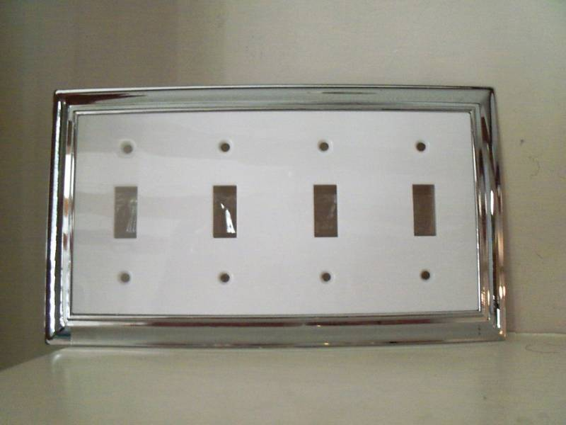 brainerd quad light switch cover chrome white ebay. Black Bedroom Furniture Sets. Home Design Ideas