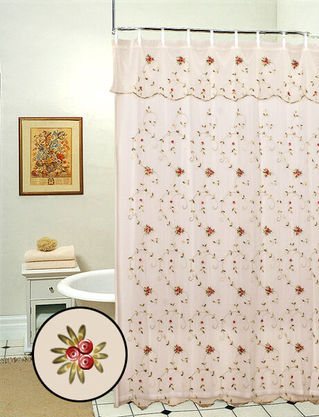 Lace double swag shower curtain - Embroidered Roses Shower Curtain Beige Free S Amp H 8254 Ebay