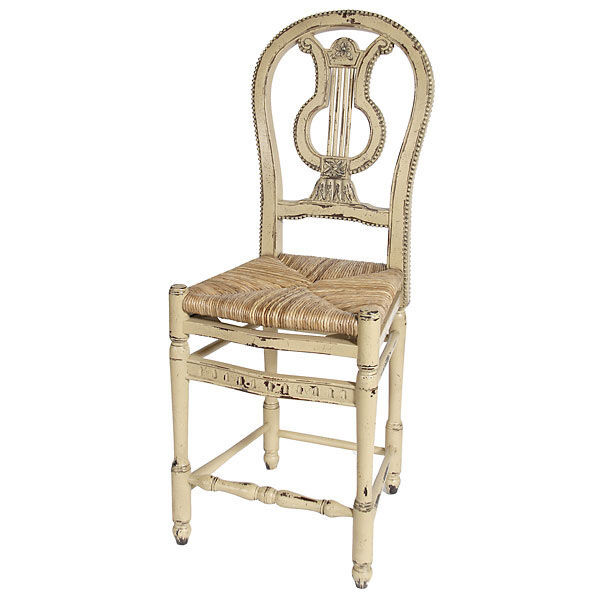 French Country Distressed Lyre Counter Height Barstool Set