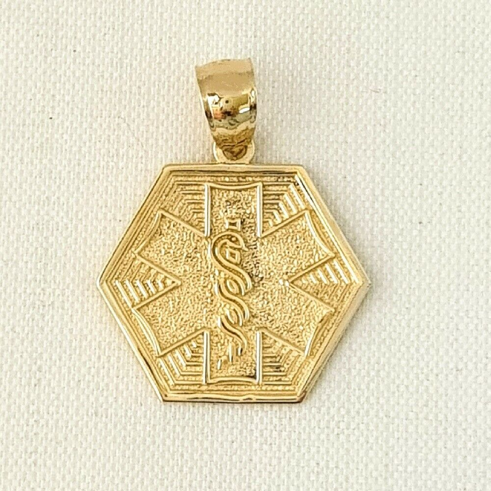14k Yellow Gold MEDICAL ALERT SYMBOL Pendant / Charm, Made ...