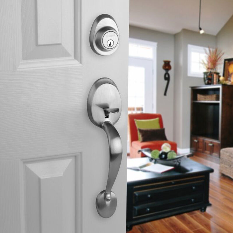 Front Door Entry Set Lock Satin Nickel Lever Vail EBay