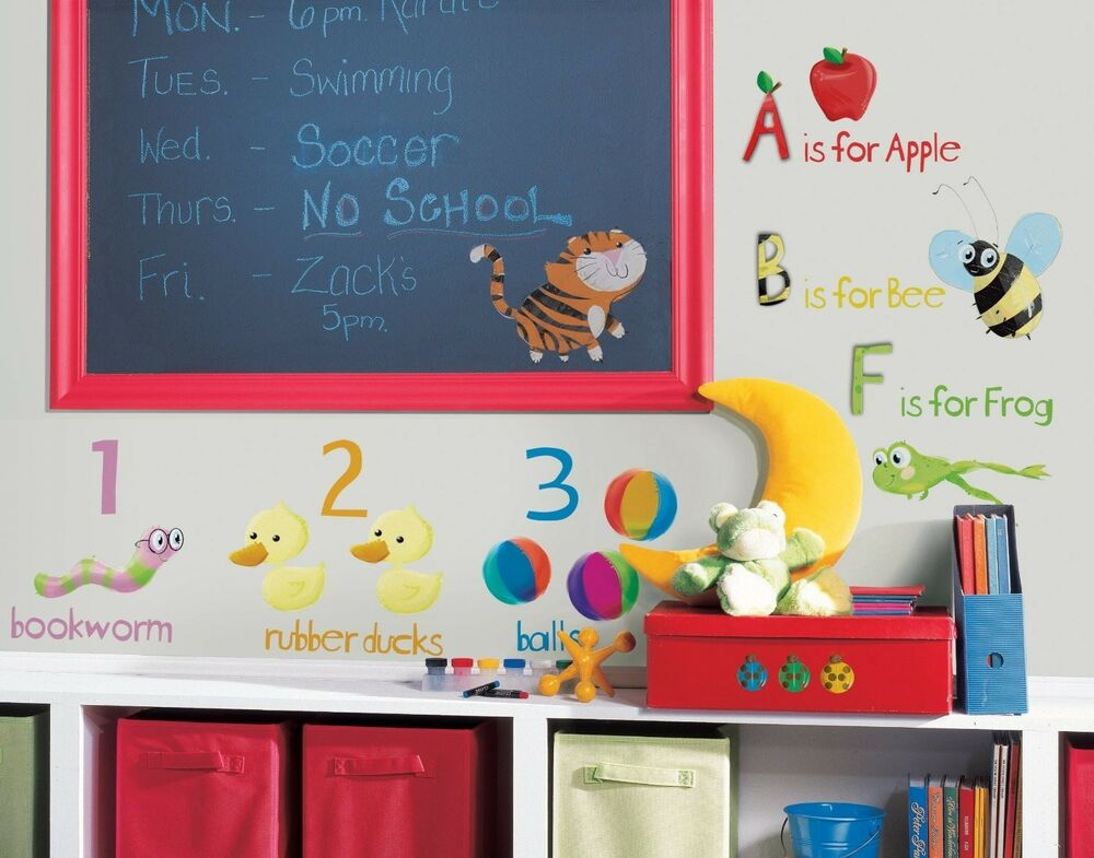 Abc 123 wall stickers room decor school alphabet decals classroom decorations ebay - Classroom wall decor ...