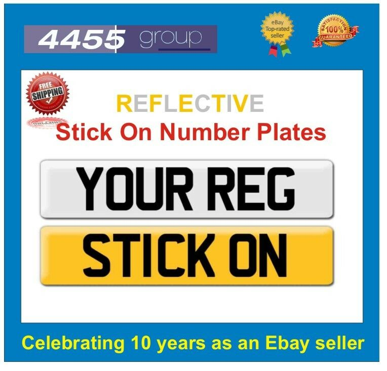 REFLECTIVE STICK ON NUMBER PLATE +++++FREE P&P+++++ | eBay