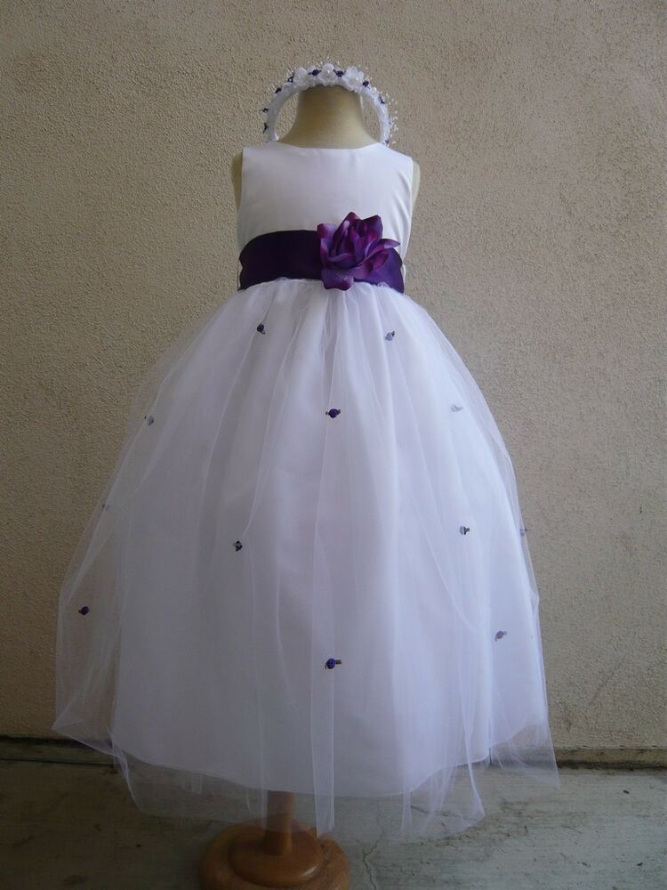 new white flower girl dress w purple sash and rosebud ebay