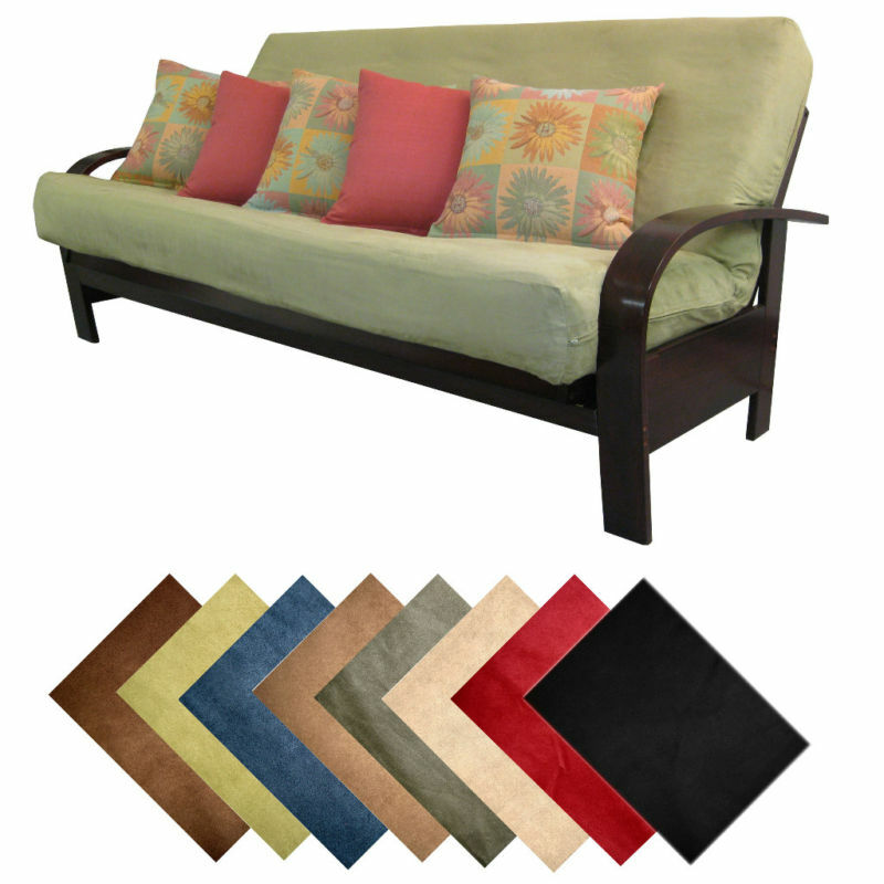 Solid Microfiber Suede Futon Cover Choose Size & Color
