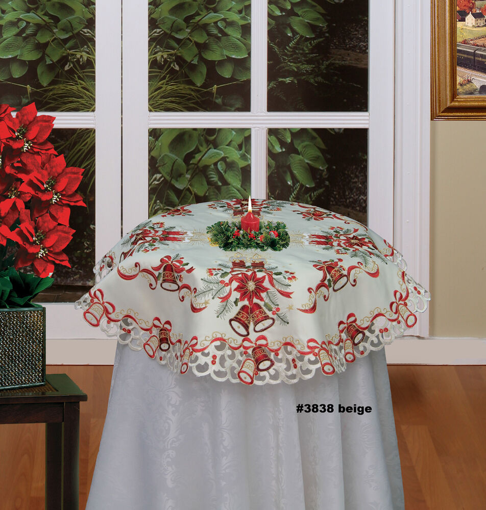 Christmas Poinsettia Bell Candle Tablecloth 34quot Round  : s l1000 from www.ebay.com size 952 x 1000 jpeg 193kB