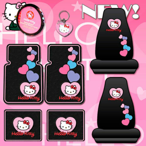 8pc Hello Kitty Car Mats Seat Covers Accessories Set Ebay