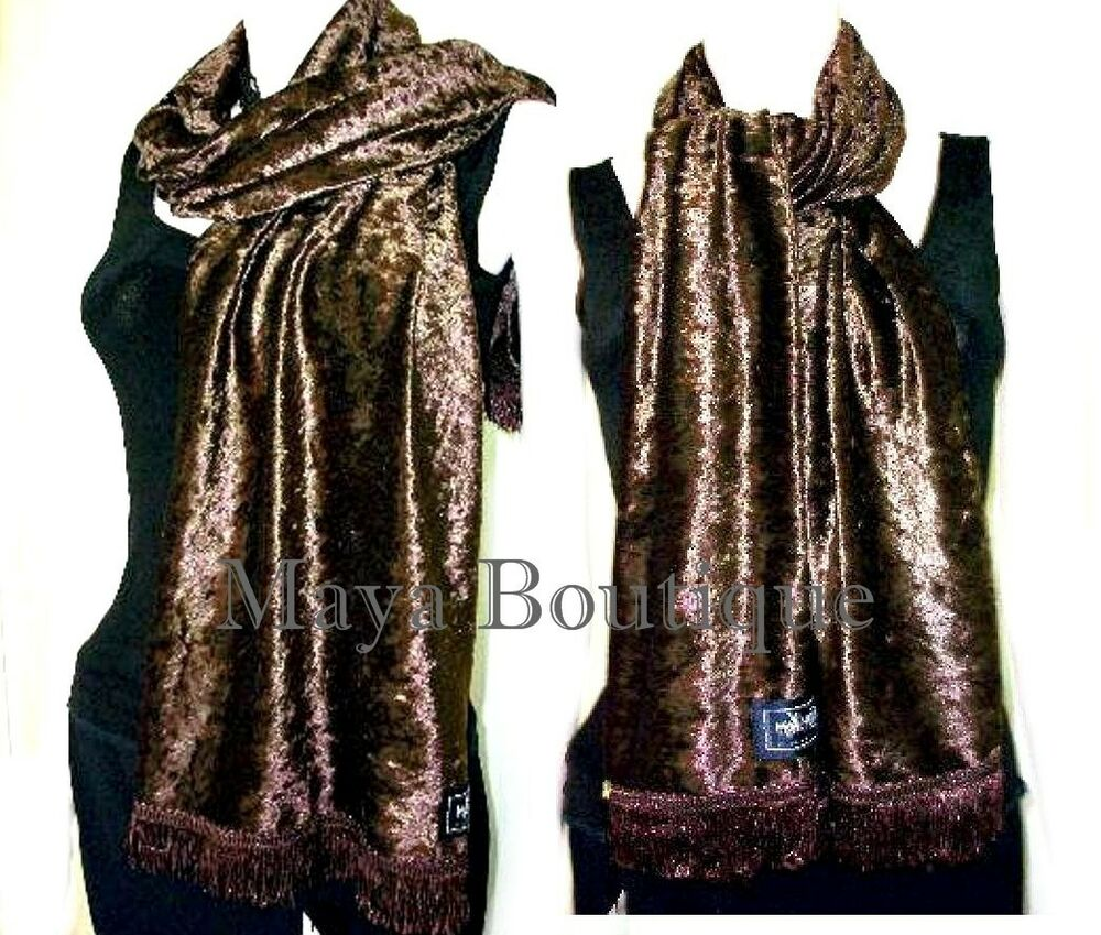 chocolate brown crushed velvet scarf made in usa ebay