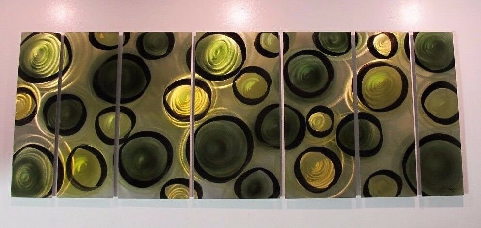Large olive green metal wall art modern abstract painting home decor sculpture ebay - Home decor promo code paint ...