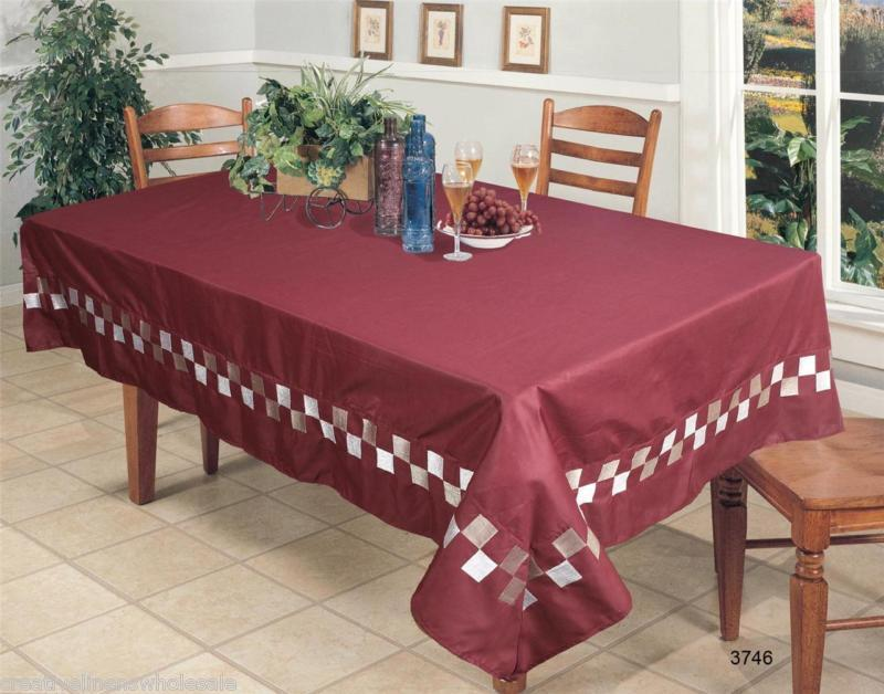 Holiday Embroidered Burgundy 60x84 Quot Fabric Tablecloth