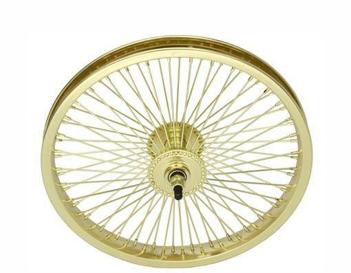 Bicycle 16 front wheel gold w 52 spokes beach cruiser for Bicycle rims