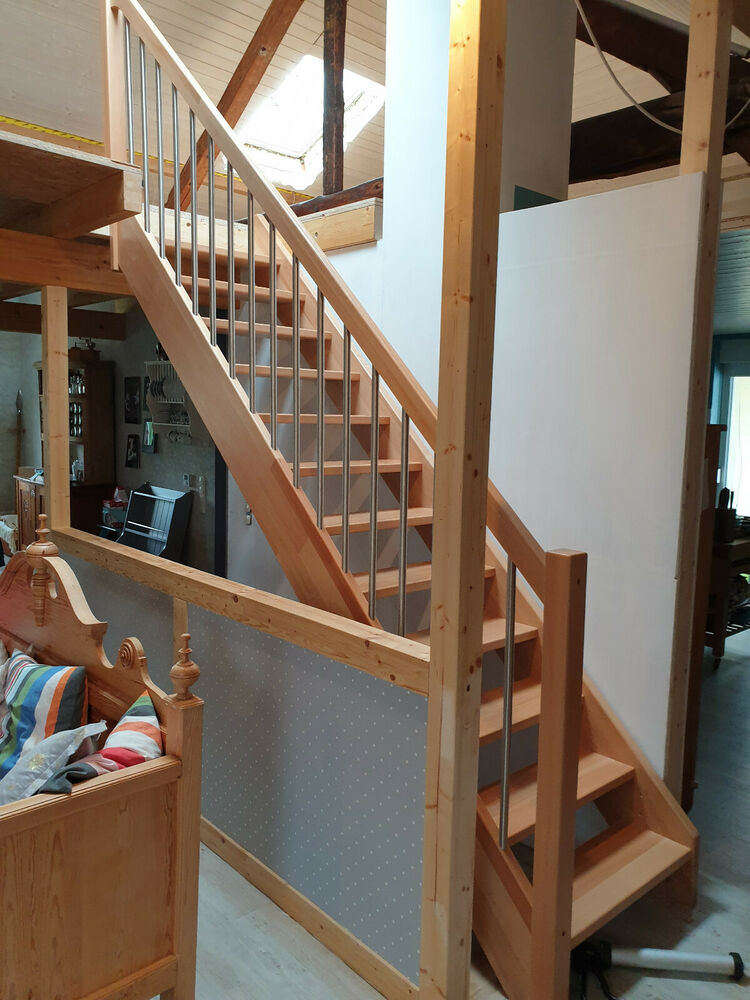treppe treppen holztreppe buche treppe massivholz buche stufe massiv haupttreppe ebay. Black Bedroom Furniture Sets. Home Design Ideas