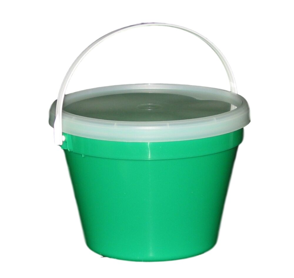 3 green one gallon buckets lids large air tight container mfg usa lead free ebay - Gallon bucket garden container ...