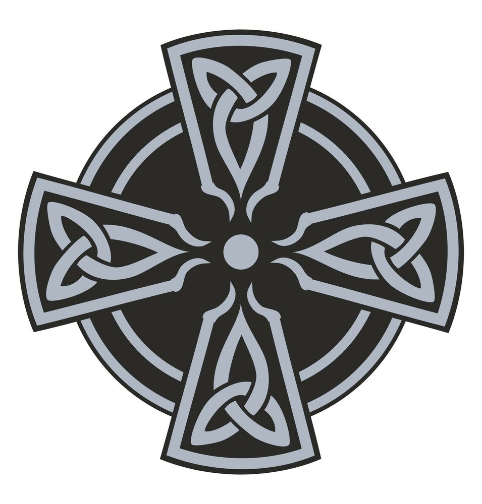 Celtic Cross Sticker Grey Religious For Car Motorcycle