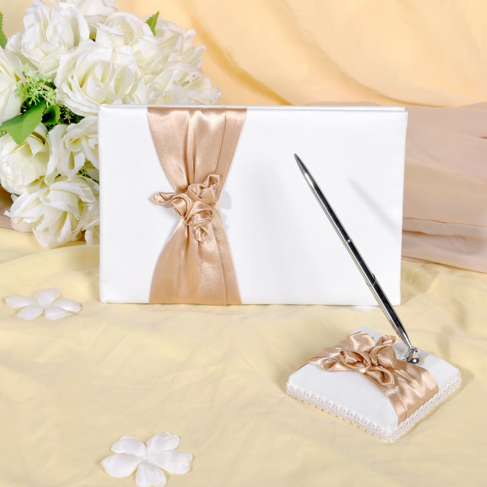 gb04 ivory with champagne wedding guest book  u0026 pen set