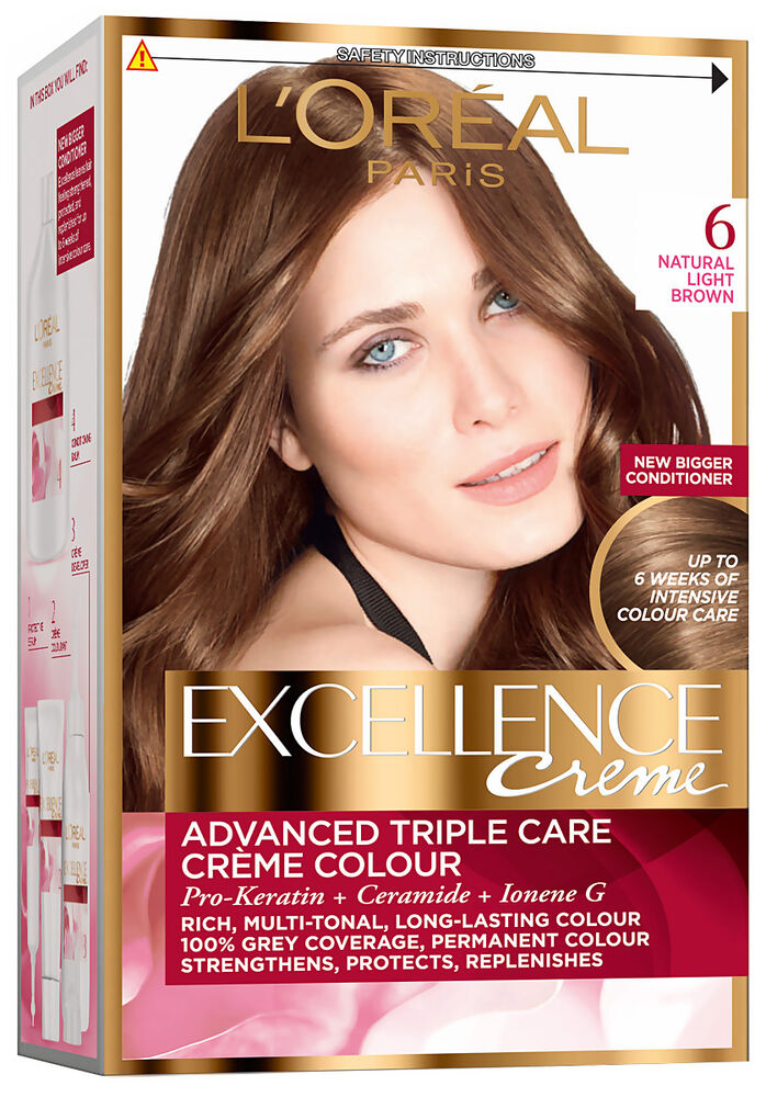 Loreal Excellence Creme 6 Natural Light Brown Hair Colour Ebay