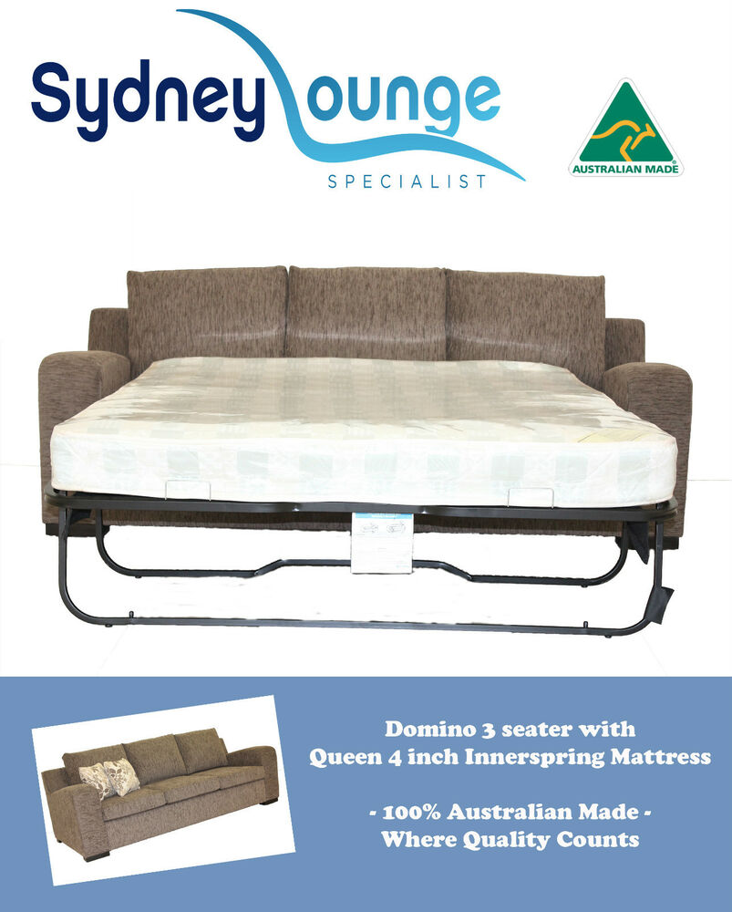 Sofa Bed Ebay Sydney: AUSTRALIAN MADE Domino 3 Seater Queen 4'' Innerspring Sofa