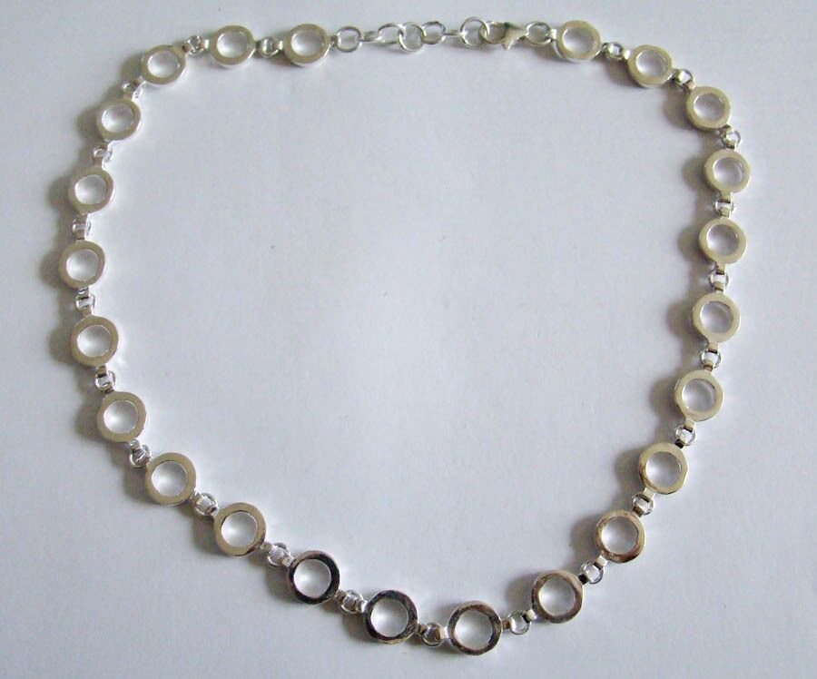 sterling silver circle link chain necklace heavy ebay