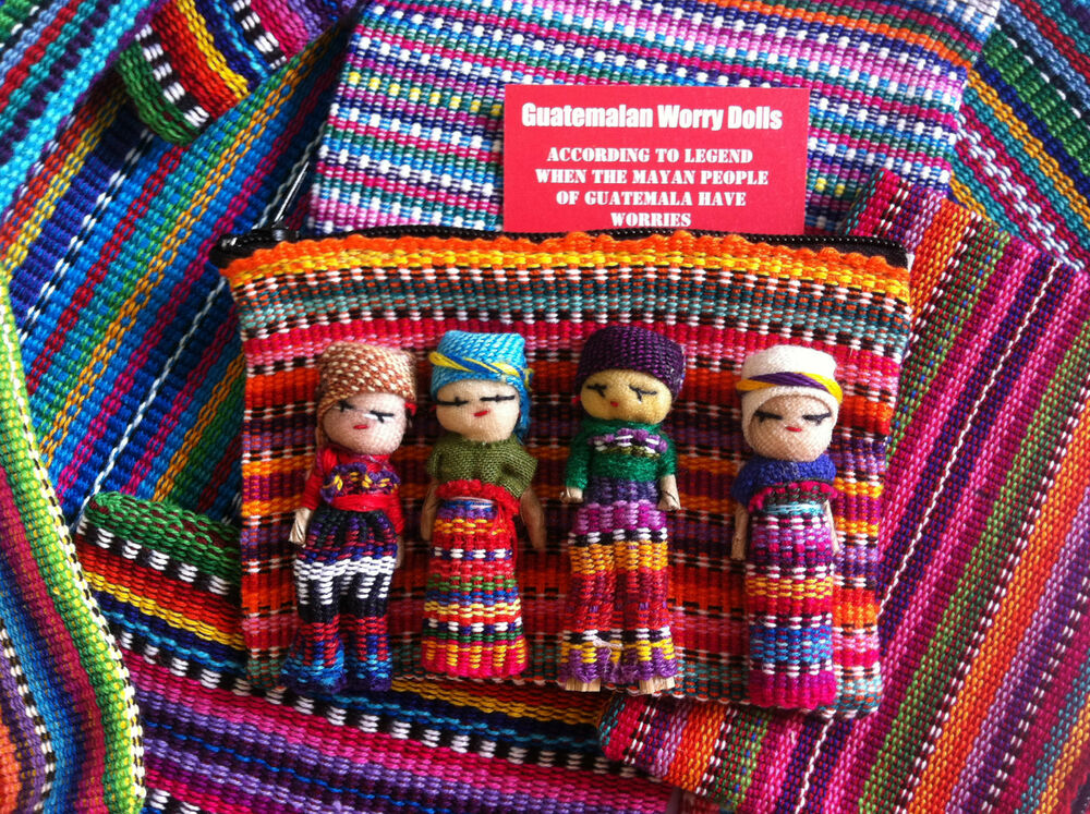 18 >> GUATEMALAN WORRY DOLLS - HANDWOVEN ZIP BAG WITH 4 DOLLS | eBay