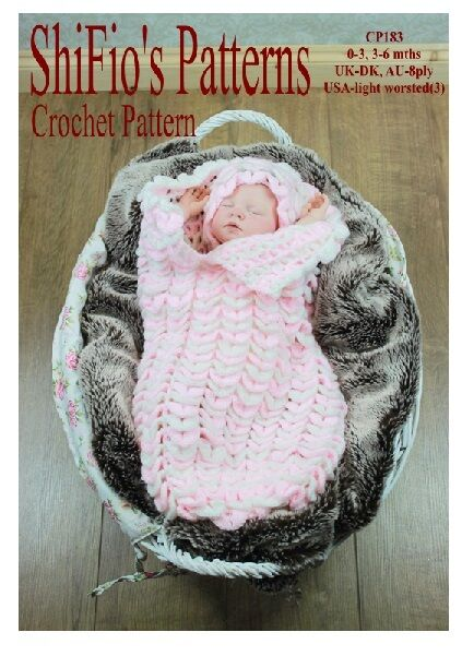 Crochet Baby Papoose Pattern Free : CROCHET PATTERN for BABY COCOON PAPOOSE 0-3, 3-6mths #183 ...