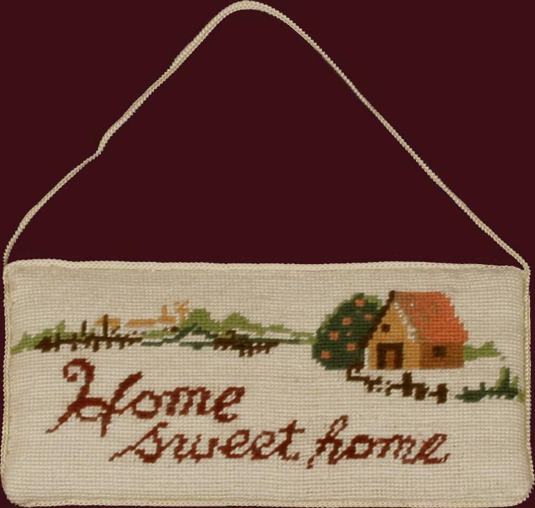 Handmade Needlepoint Door Hanger Sign HOME SWEET HOME