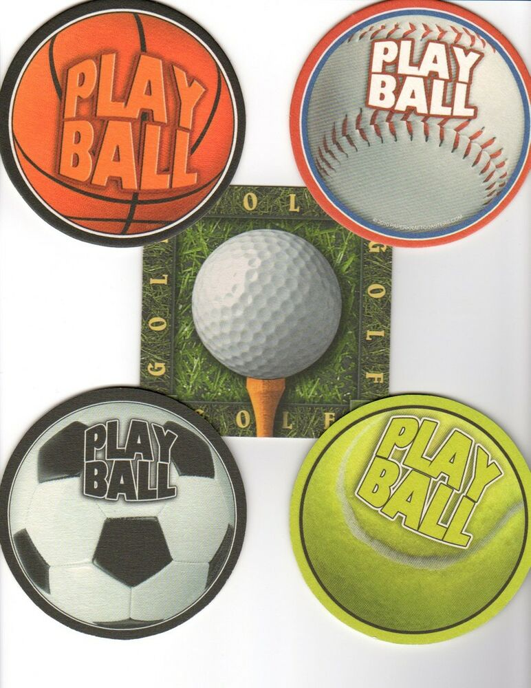 8 absorbent drink coasters play ball motif ebay - Drink coasters absorbent ...