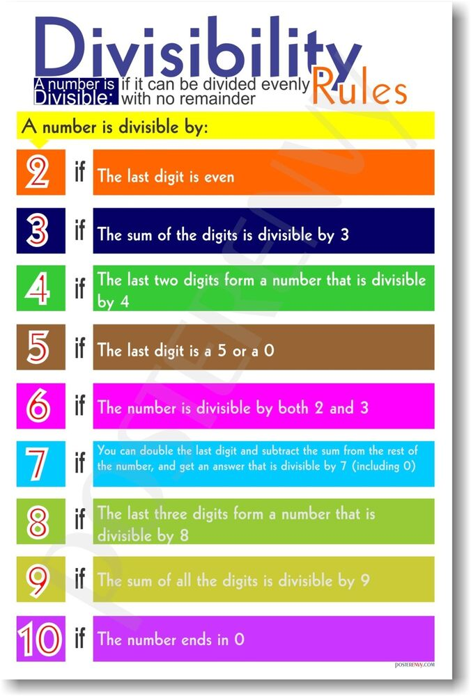 Divisibility Rules - Division Math Classroom POSTER | eBay