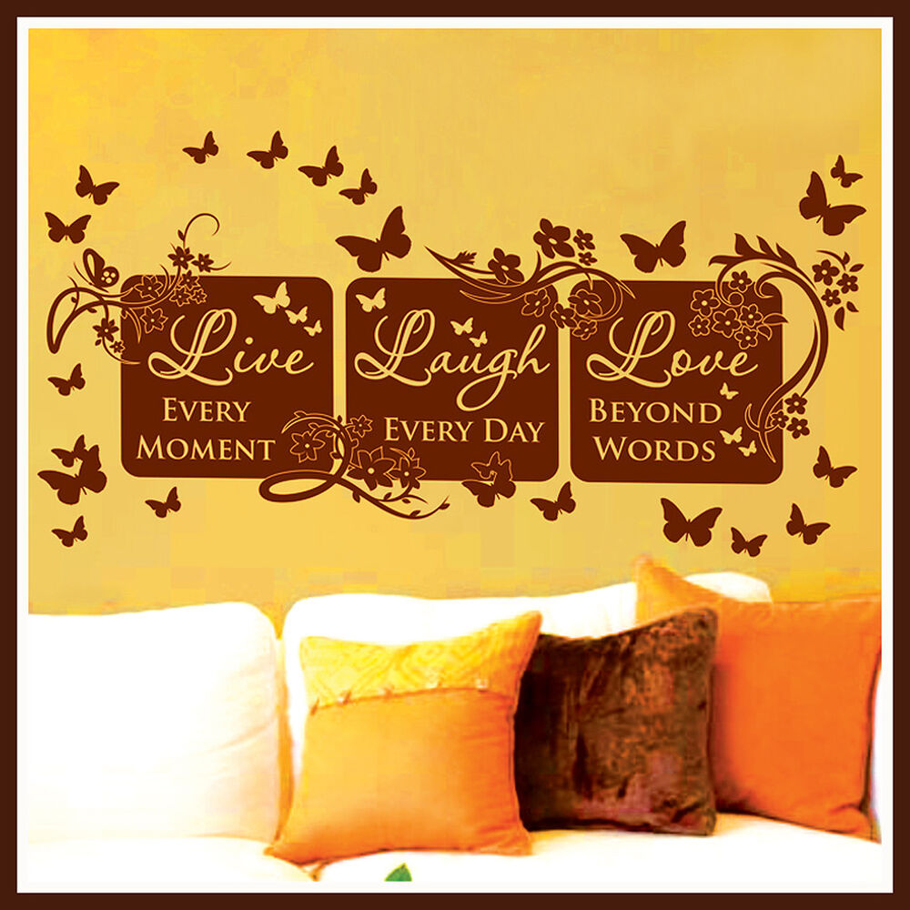 vinyl wall decor mural quote decal live laugh love 64 ebay. Black Bedroom Furniture Sets. Home Design Ideas