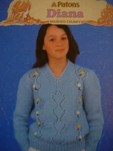 Patons Chunky Knitting Patterns : VINTAGE 1980s PATONS KNITTING PATTERN LADIES BRUSHED CHUNKY SWEATER 30 -...