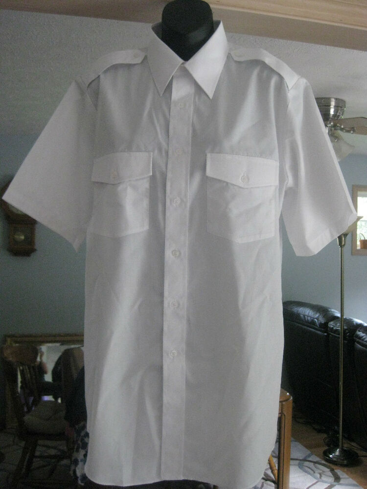 Mens cintas shirt white short sleeve 15 t new aviator for Stafford white short sleeve dress shirts