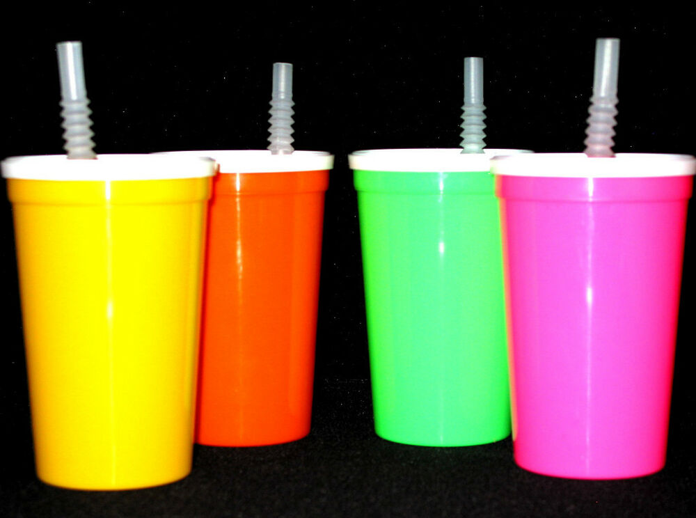 Plastic Cups With Lids : Plastic drinking glasses cups lids straws ebay