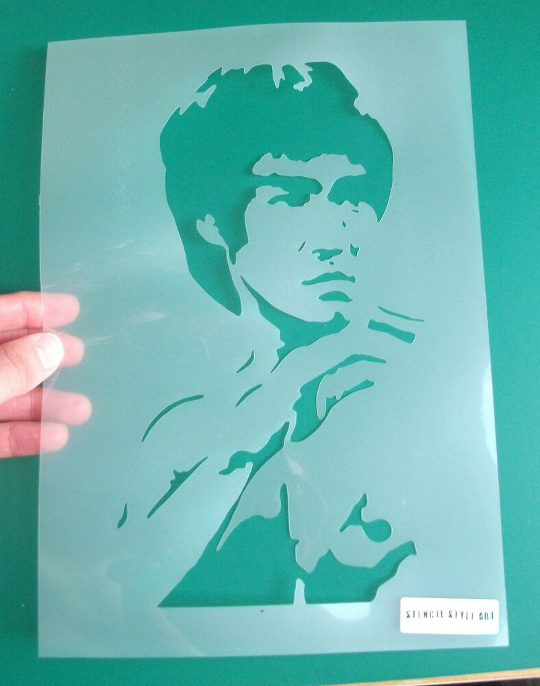 Bruce lee stencil reusable wall decor art craft painting for Arts and crafts stencils craftsman