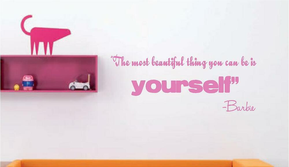 The most beautiful thing barbie saying vinyl wall decal ebay for Beautiful barbie wall decals