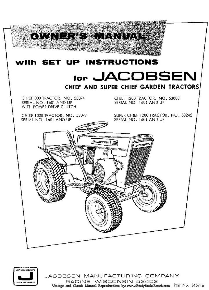 Jacobsen Chief Models 800 1000 1200 and SUPER Chief Tractor – Jacobsen Chief Wiring Diagram