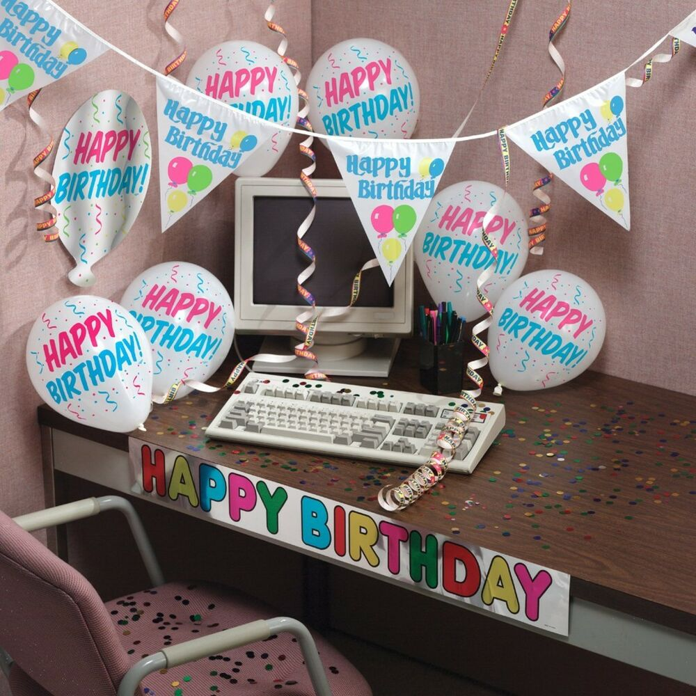 Happy birthday complete room workspace decorating kit ebay for Decoration kit