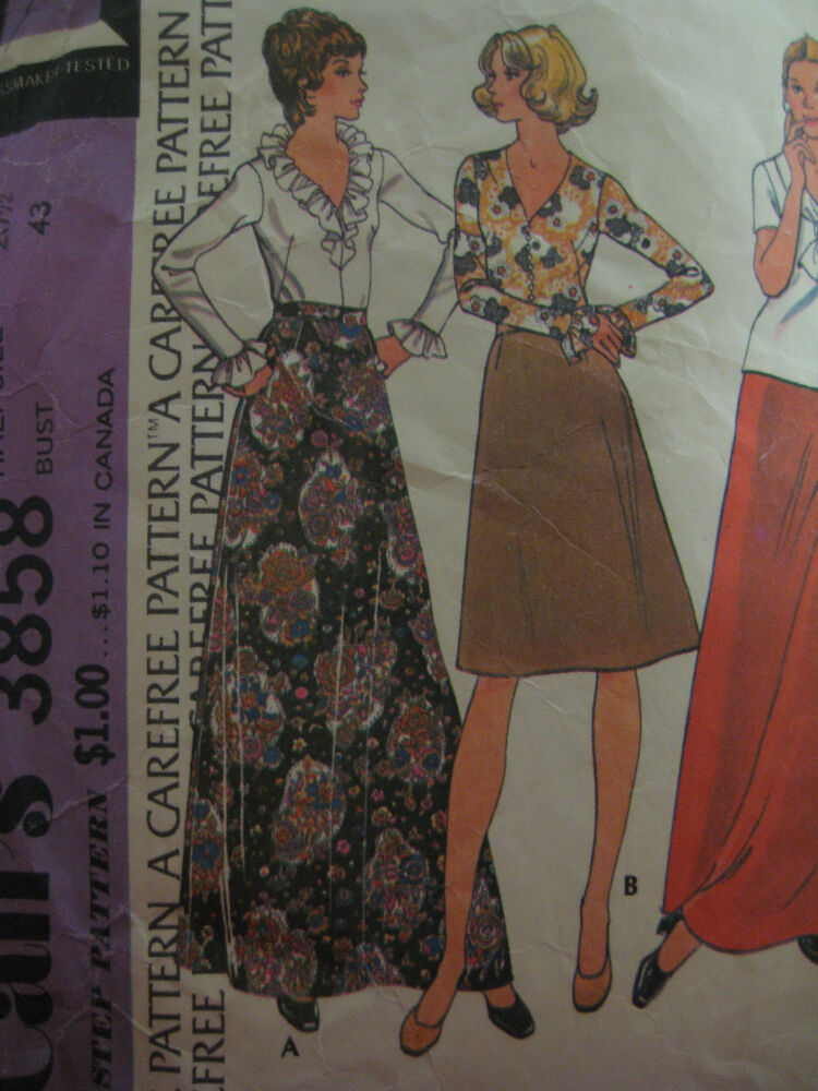 Excellent SEWING PATTERN WOMENS VINTAGE 40s DRESSY LONG SKIRT Waist 30