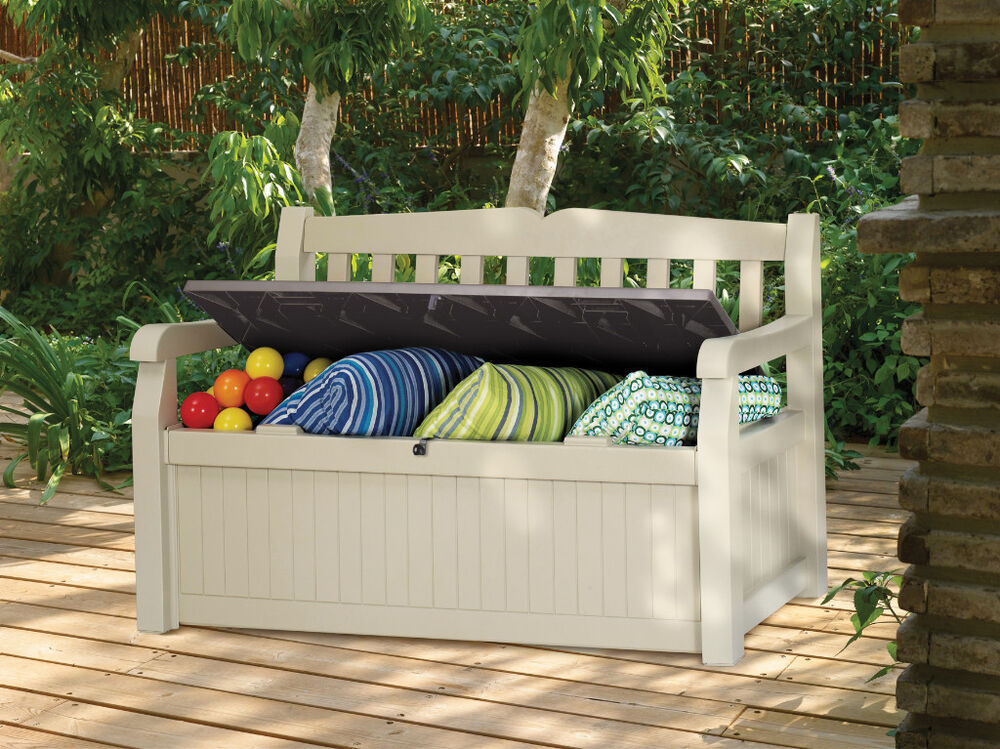 Keter eden plastic garden storage bench box 265l litre free fast delivery ebay Storage bench outdoor