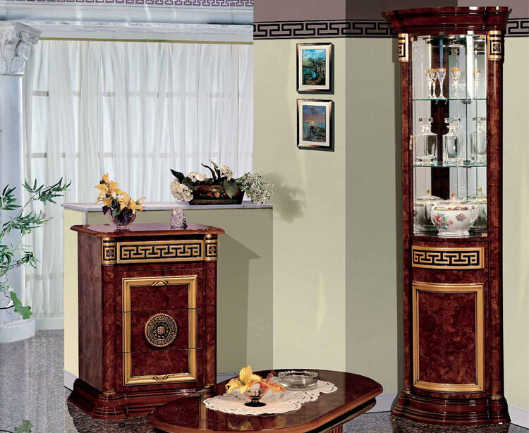 exklusive eckvitrine meander deco hochglanz luxus stilm bel design italienische ebay. Black Bedroom Furniture Sets. Home Design Ideas