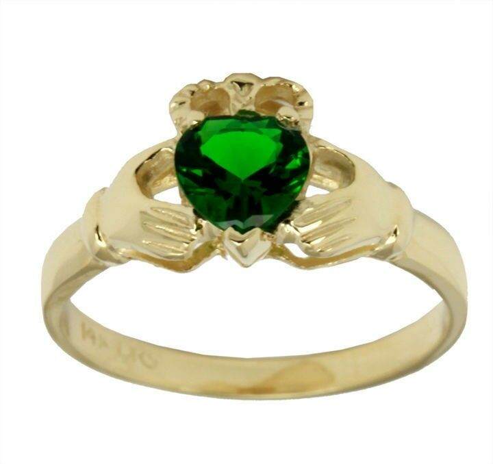 new silver gold claddagh ring with emerald ebay