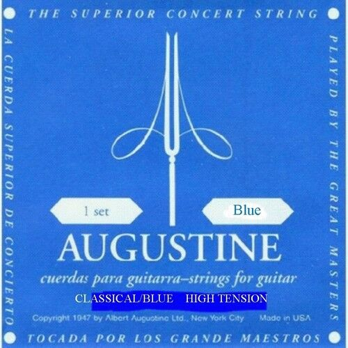 AUGUSTINE CLASSIC BLUE HIGH TENSION CLASSICAL GUITAR ...