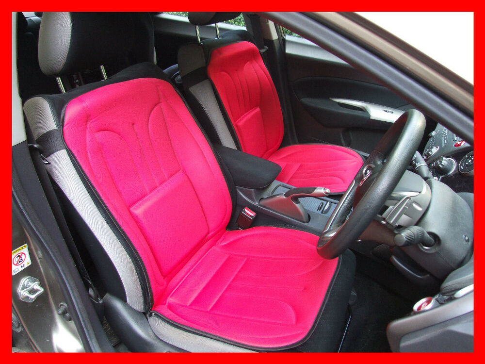 2 X Car Seat Covers Cushion With Lumbar Support Pair RED
