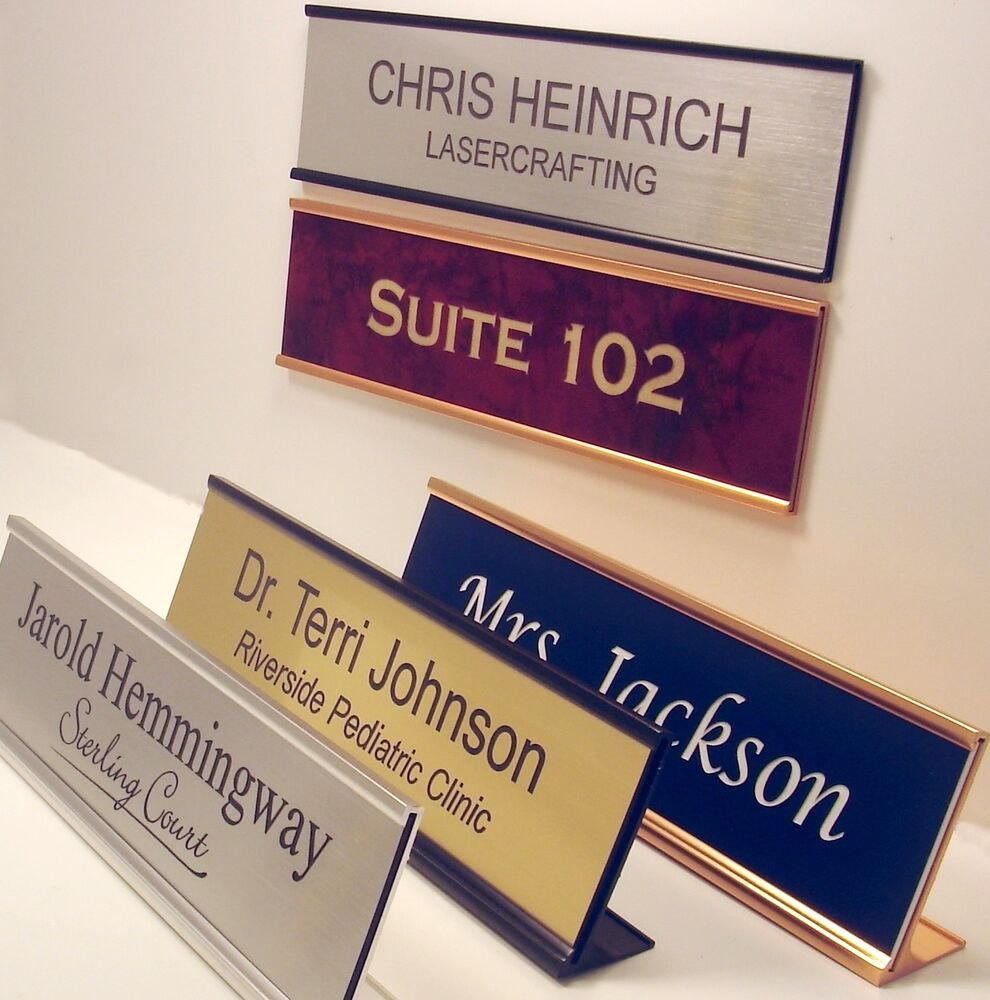 Office desk name plates car interior design for Door name signs