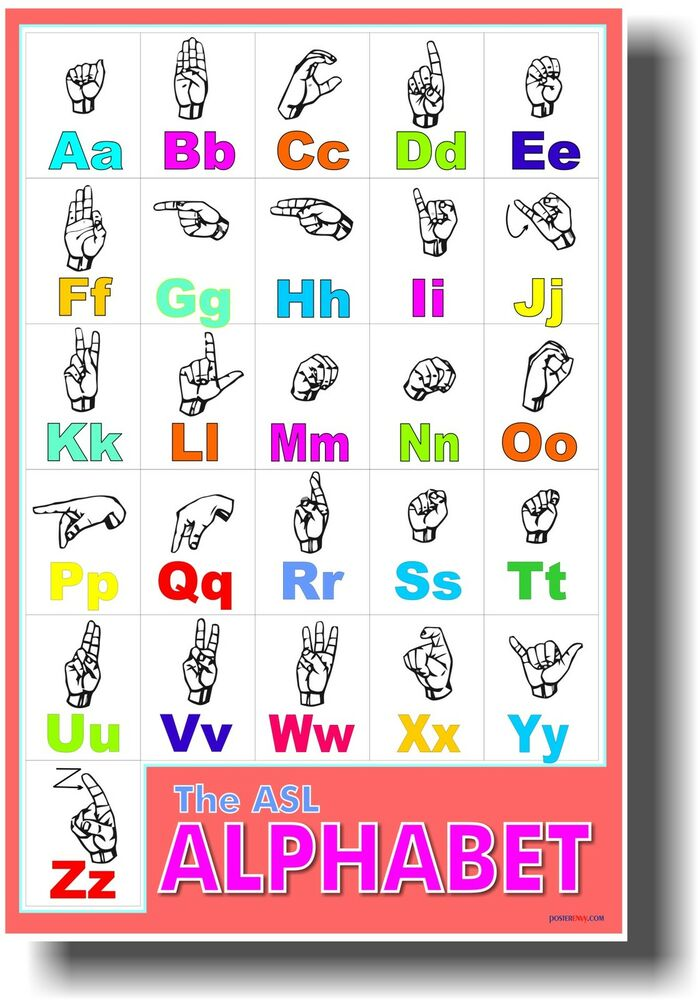 American Sign Language Classroom Decorations : American sign language alphabet asl classroom hearing