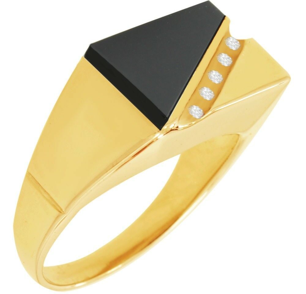 Men S 14k Or 10k Yellow Or White Solid Gold Black Onyx