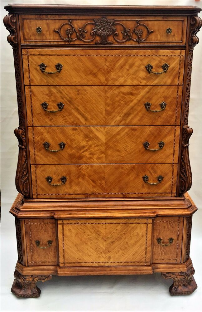 Vintage Chest Of Drawers ~ Satinwood chippendale style antique dresser vintage chest