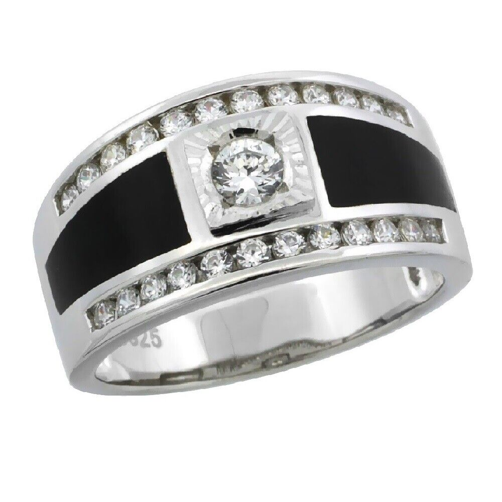 sterling silver s black onyx solitaire ring w cubic zirconia stones ebay