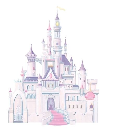 Disney giant princess castle wall mural stickers room for Disney princess mural stickers