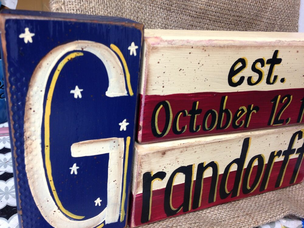 Americana decor personalized stacking block sign name ebay for Sign decoration