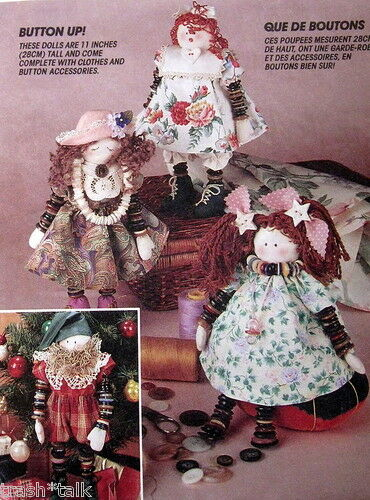 Country Primitive 11 Quot Rag Doll Pattern Make Do Button Arm